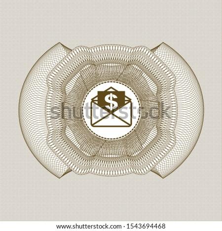 Brown abstract rosette with envelope with paper with money symbol inside icon inside