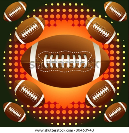 Brown american footballs on the  background with halftone