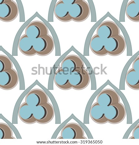 Brown and blue seamless pattern with gothic motives. Vector pattern with architectural elements of rosette windows. Can be used for wallpaper, pattern fills, web page background, surface textures.
