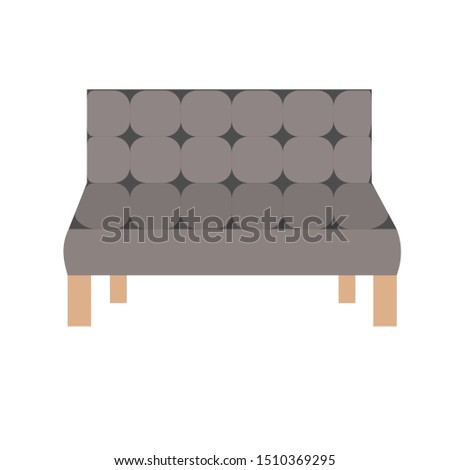 Brown and grey sofa. Flat design icon vector illustration.