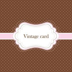 Brown and pink vintage card, polka dot design