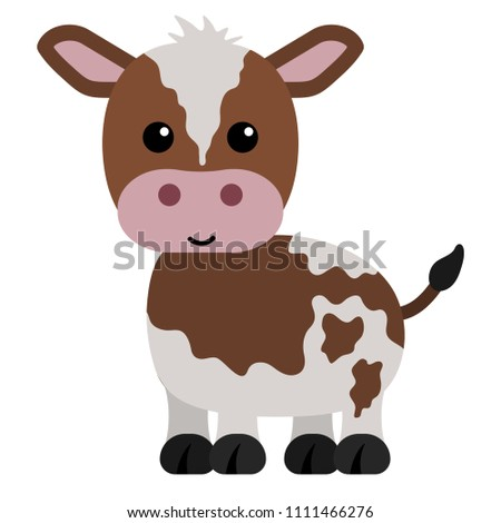 Brown and White Calf - Cartoon brown and white calf or baby cow