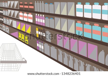 Brown background. Store shelf with goods in perspective view with shopping trolley in left bottom corner.