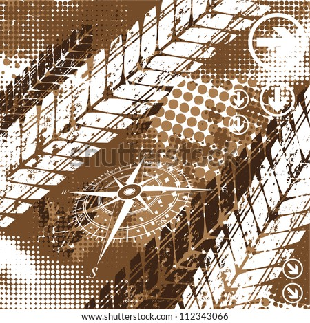 stock-vector-brown-background-with-halftones-and-tire-tracks