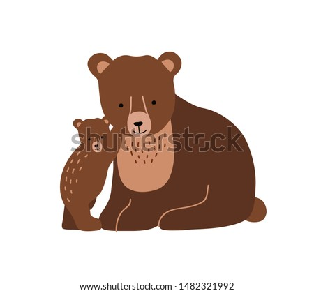 Brown bear and cub isolated on white background. Cute lovely family of wild forest carnivorous animals. Parent with youngling, mother and offspring. Flat cartoon colorful vector illustration. Stockfoto ©