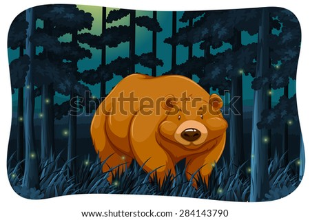 brown bear and fireflies in the