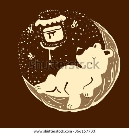 brown bear and honey. Vector illustration Foto stock ©
