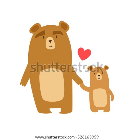 Brown Bear Dad Animal Parent And Its Baby Parenthood Themed Colorful Illustration With Cartoon Fauna Characters