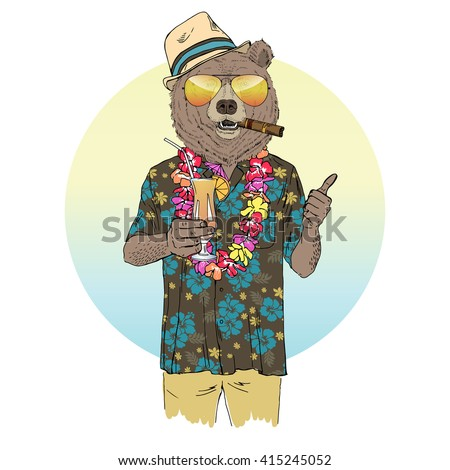 brown bear dressed up in aloha