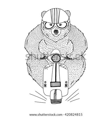 brown bear driving scooter, decorative animal illustration, silk screen print