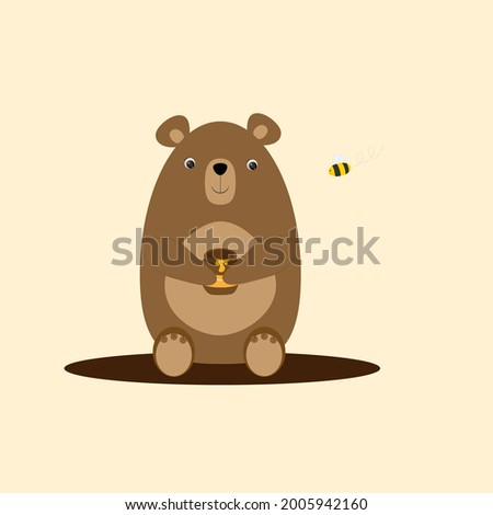 Brown bear holding a pot of honey in its paws and a bee next to it. Vector illustration Foto stock ©
