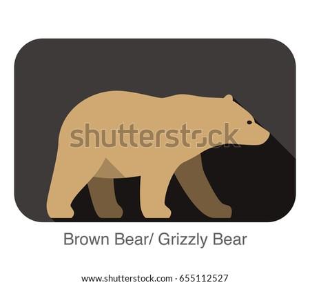 brown bear walking side flat 3d