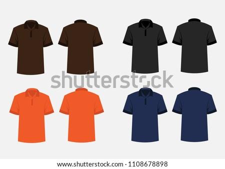 free black orange collar t shirt template download free vector