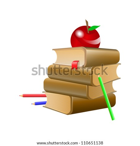 Brown books with red bookmark, red apple and three pencil . Vector illustration on white background
