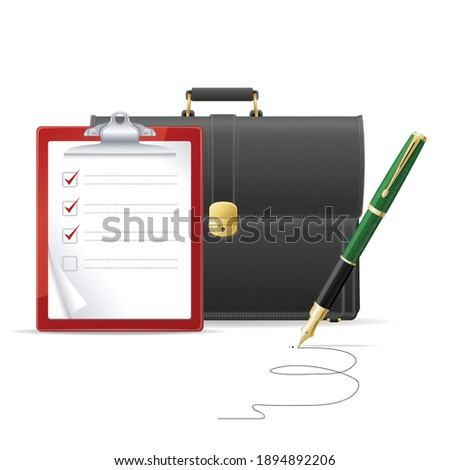 brown briefcase suitcase checklist pen isolated white background business concept