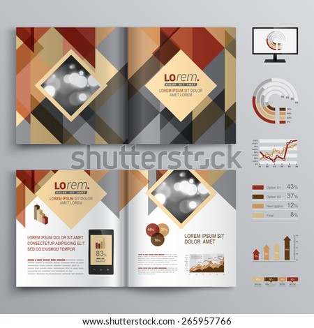 Brown brochure template design with triangle pattern. Cover layout and infographics #265957766