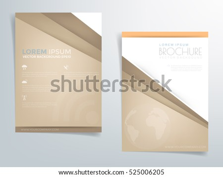 Brown brochure template flyer header design vector background with orange arrow line and white space for text artwork design in A4 size