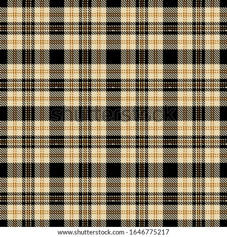 Brown, brown, beige and black plaid. Seamless checkered pattern. Tartan