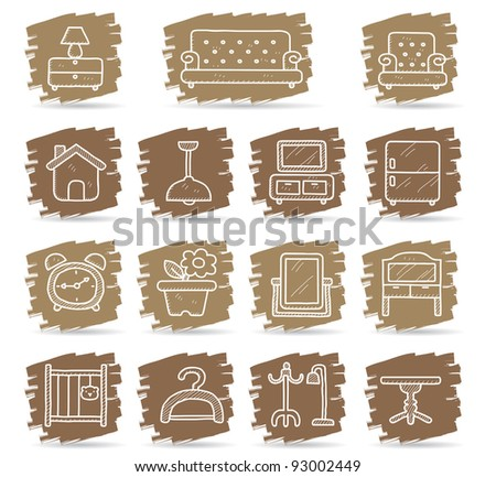 Brown brush series | Furniture icon set
