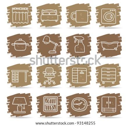 Brown brush series | Furniture icon set