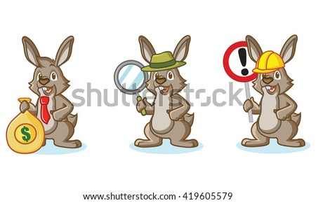 Brown Bunny Mascot with money, sign and magnifying