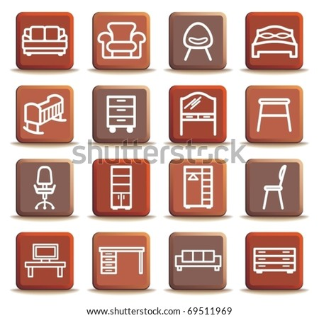 Brown buttons with furniture icons