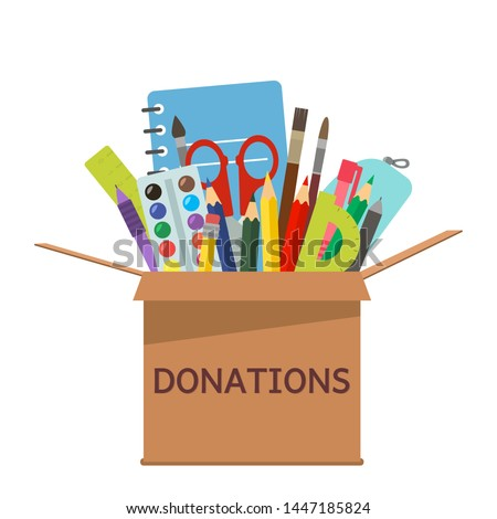 brown cardboard box for donations full of stationery to a school for poor people. flat vector illustration
