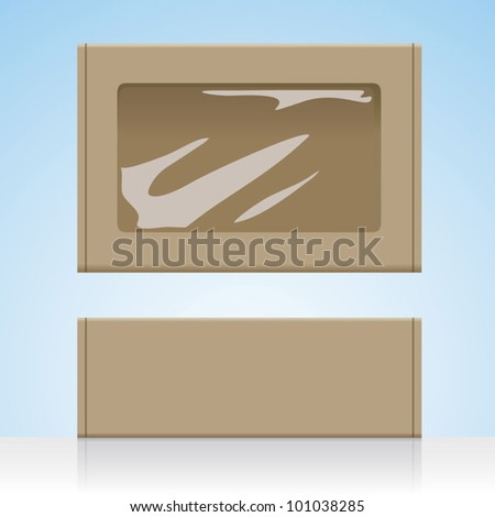 Brown cardboard box take-away / take-out food container vector visual, plain blank unprinted with clear plastic film window