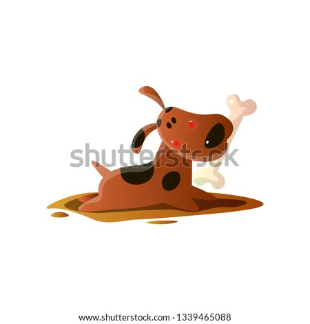 415dc3580 Brown cartoon dog carrying bone in mouth isolated on white background