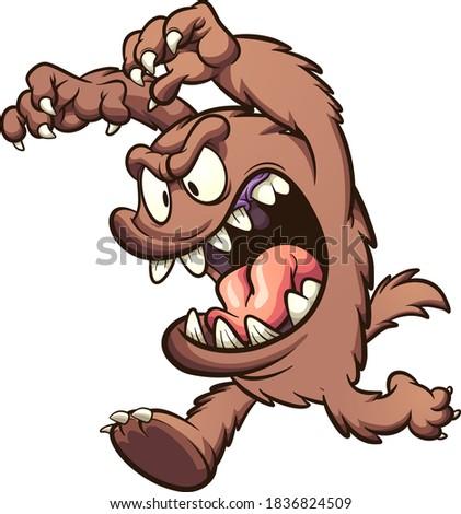 Brown cartoon monster running with hands up. Vector clip art illustration with simple gradients. Some elements on separate layers.