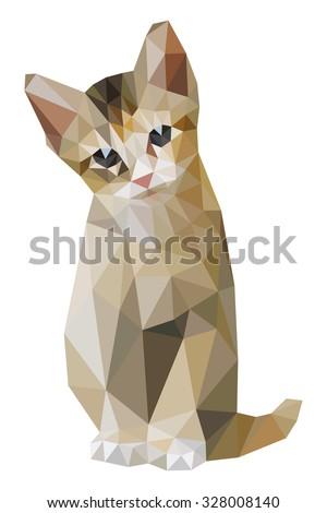 brown cat sitting low polygon
