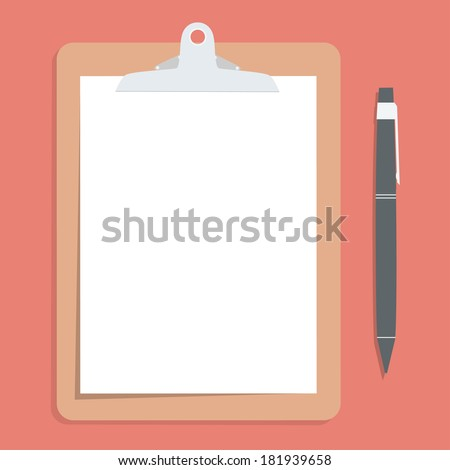 Brown clipboard with blank white paper.  with pen put alongside. Vector illustration.