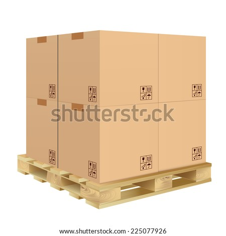 Brown closed carton delivery packaging box with fragile signs on wooden pallet isolated on white background vector illustration.