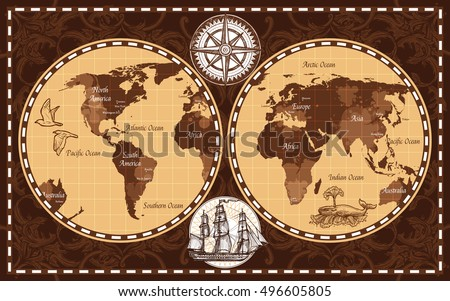 Vintage world map vector download free vector art stock graphics brown color retro nautical world map with names of continents and oceans flat vector illustration gumiabroncs Gallery