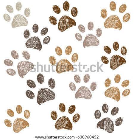 Brown colored paw print background