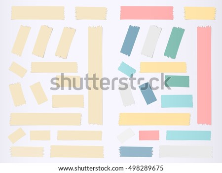 Brown, colorful horizontal and vertical masking, sticky tape pieces on grey background