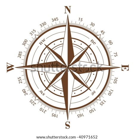 Brown compass rose isolated on white - vector