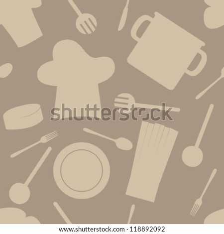 brown cook set silhouette on brown seamless pattern