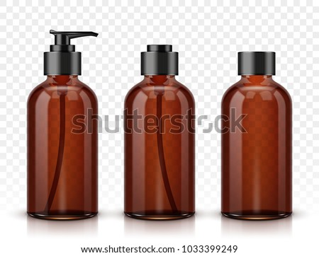 Brown cosmetic bottles isolated on transparent background