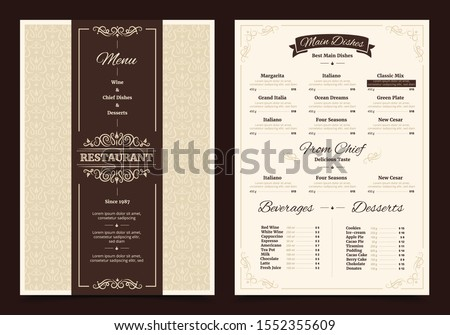 Brown creative menu design. Layout design, Design set for menu restaurant.
