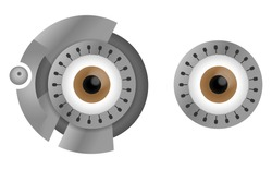 Brown cyborg eyes in steel rim