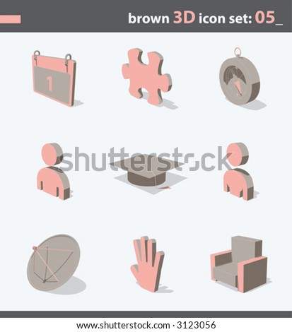 brown 3d icon set 05