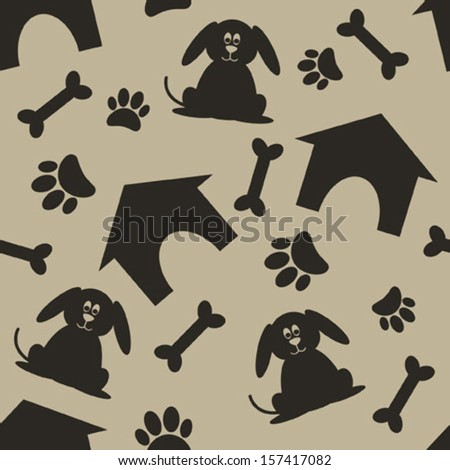 brown dog house bone paw seamless pattern