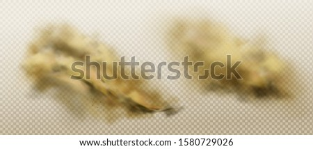 Brown dust clouds of flying sand and soil. Grunge texture of dirty smog or sandstorm isolated on transparent background. Vector realistic splash of powder and stones