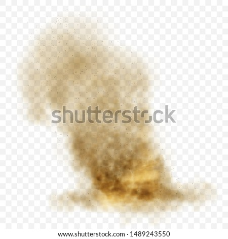 Brown dusty cloud or dry sand flying with a gust of wind, sandstorm, explosion realistic texture with small particles or grains of sand vector illustration isolated on transparent background