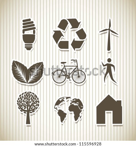 brown ecology icons over beige background. vector illustration