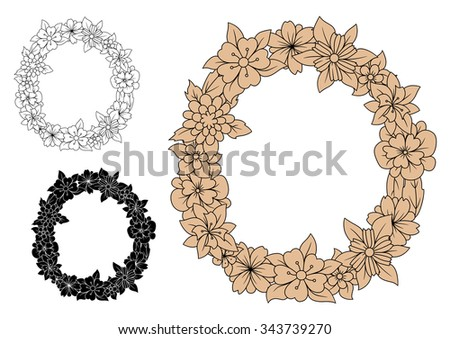 Brown Floral Lowercase Letter O Decorated By Spring Flowers For Vintage Font Design