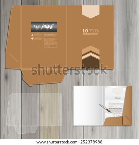Brown folder template design for corporate identity with arrows in the center. Stationery set