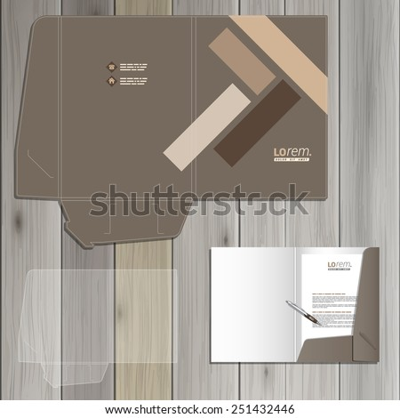 Brown folder template design for corporate identity with parquet elements. Stationery set