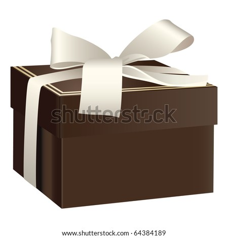 Brown gift box with white ribbon bow